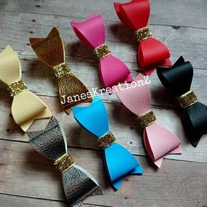Accessories - Set of 8 Faux Leather Hair Bows, Solid Colors
